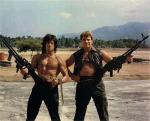 """Eventgast Martin Kove mit Sly Stallone in """"Rambo II"""" (Quelle: Hollywood Event)"""