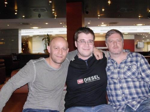 Jürgen Vogel, Thomas und Matthias Glasner im Hilton Hotel in Köln (Foto: Philip Becker)