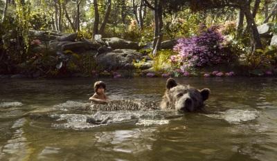 Mogli und Balu beim Schwimmgang (© Walt Disney)