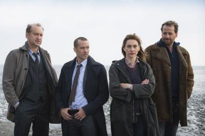 Ubbo Heide (Peter Heinrich Brix), Rupert (Barnaby Metschurat), Ann Kathrin (Christiane Paul) und Weller (Christian Erdmann), v. l. n. r. (© ZDF/Christine Schroeder)