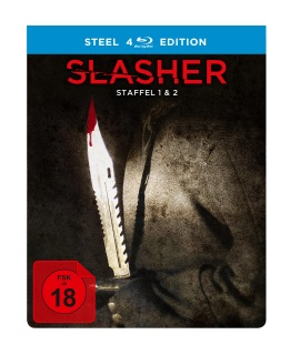 "Das Blu-ray-Cover der Box von ""Slasher Staffel 1 und 2"" (© Justbridge Entertainment)"