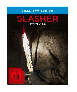 """Das Blu-ray-Cover der Box von """"Slasher Staffel 1 und 2"""" (© Justbridge Entertainment)"""